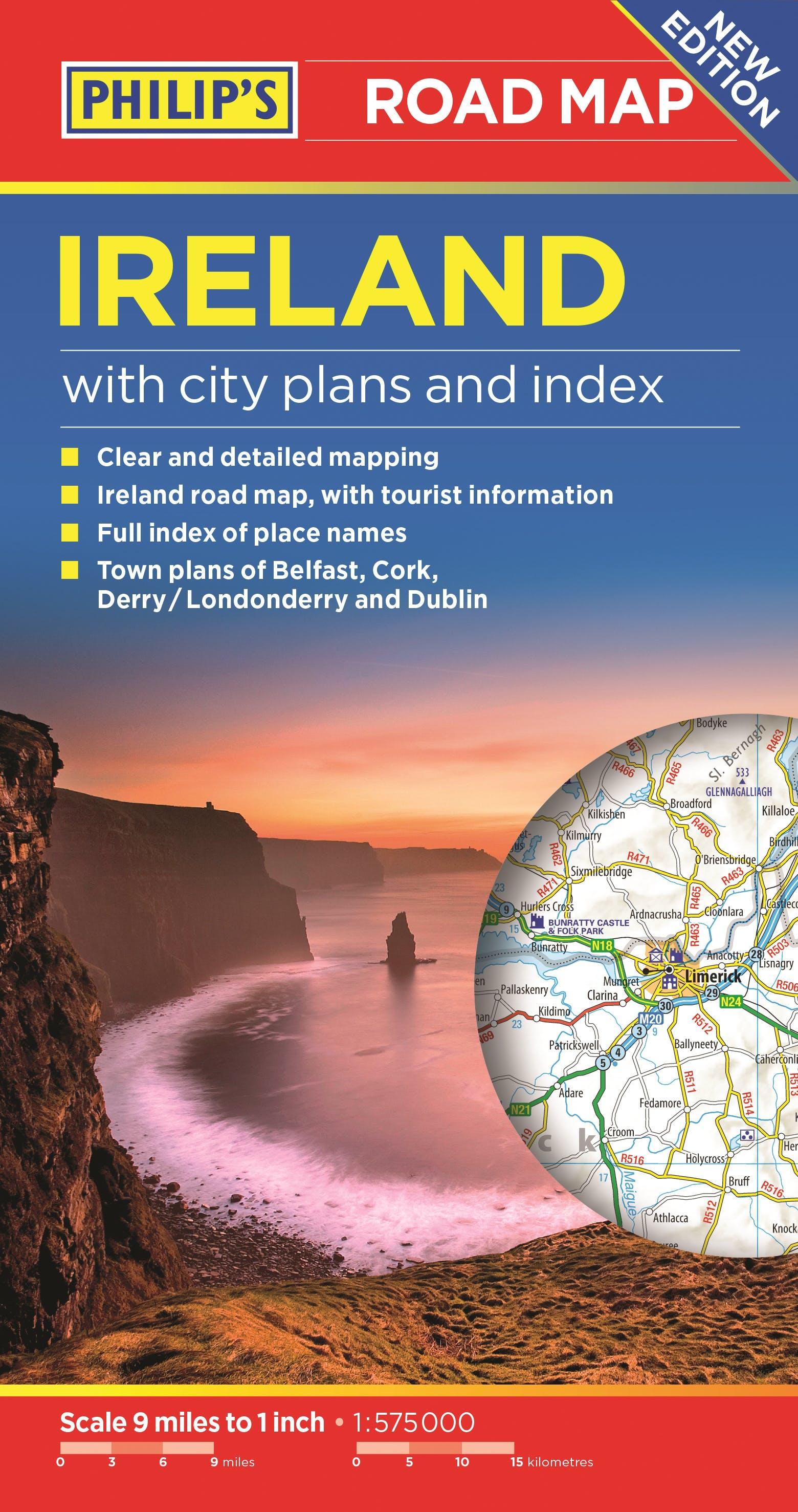 Map Of Ireland Headlands.Philip S Ireland Road Map By Philip S Maps Books Hachette Australia